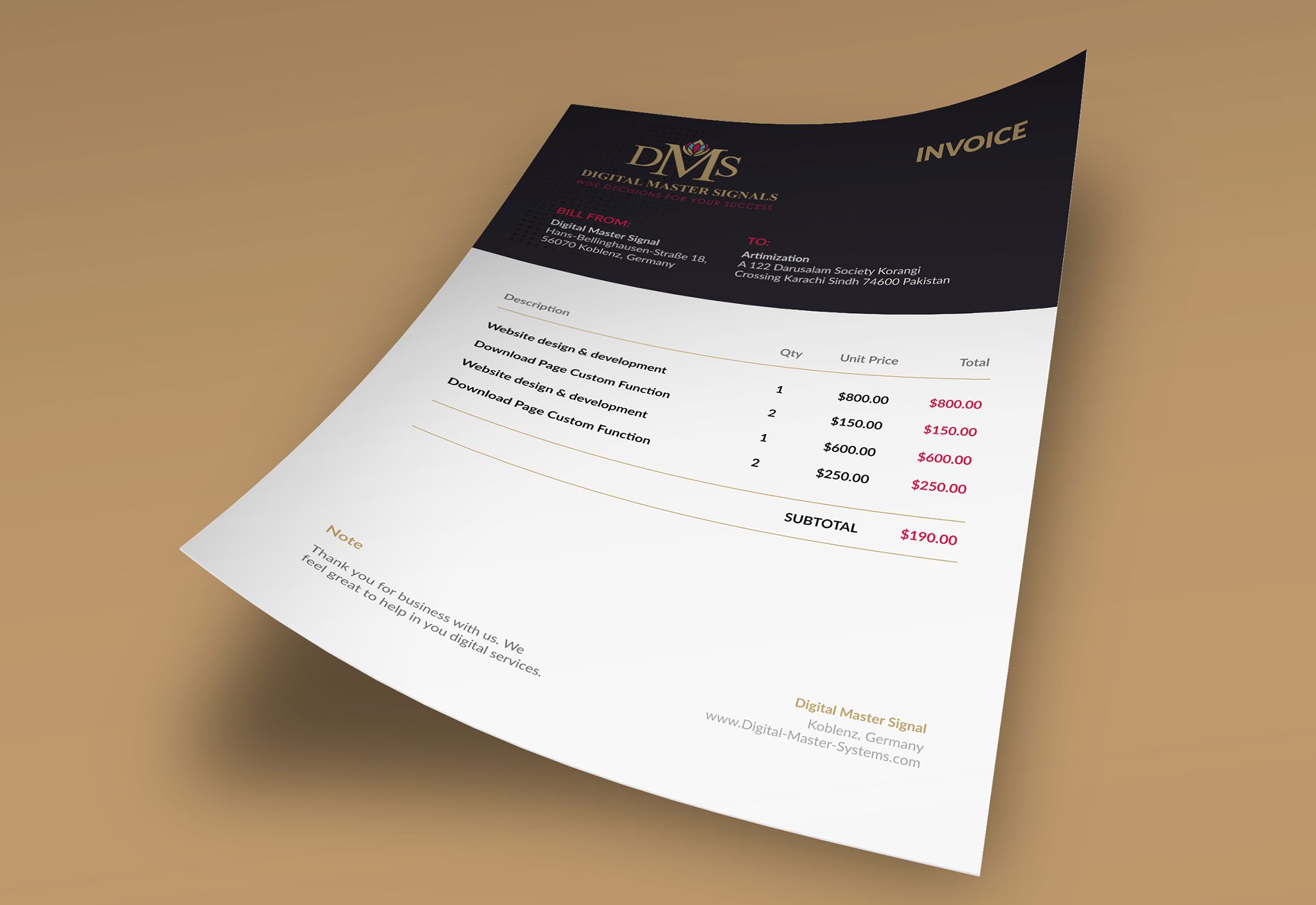clean modern invoice design