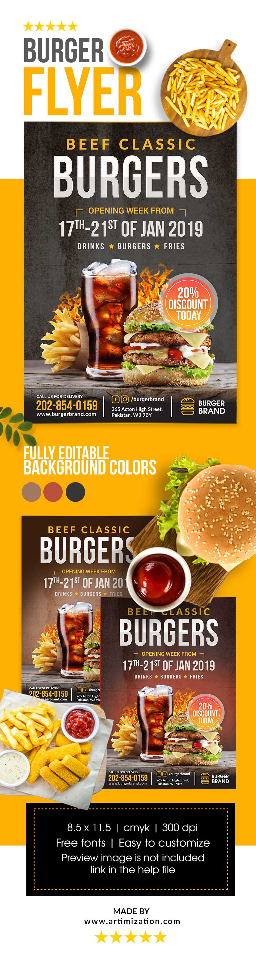 burger flyer free psd download