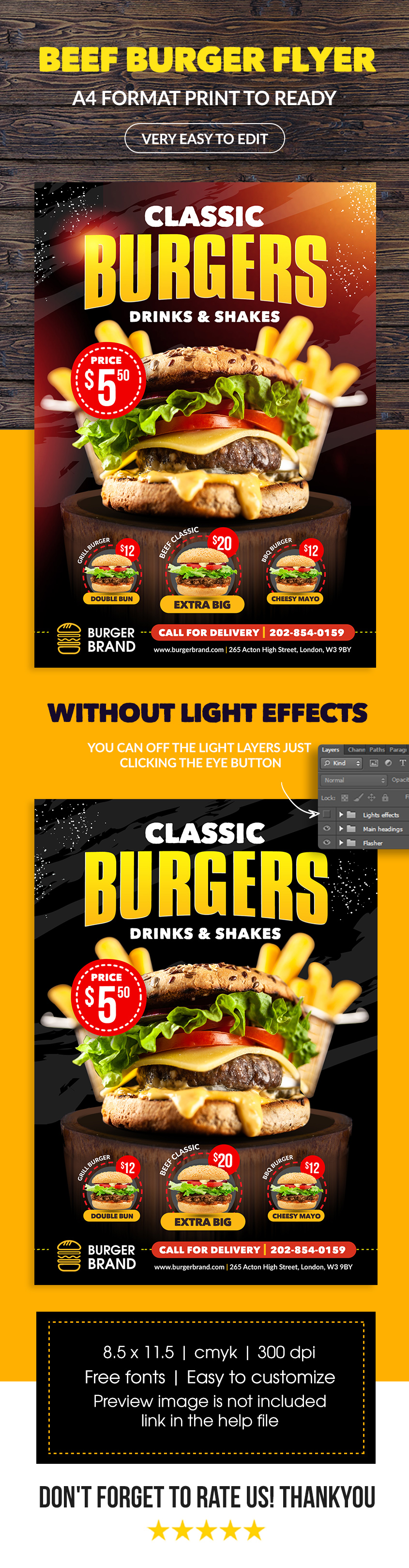 beef burger flyer template