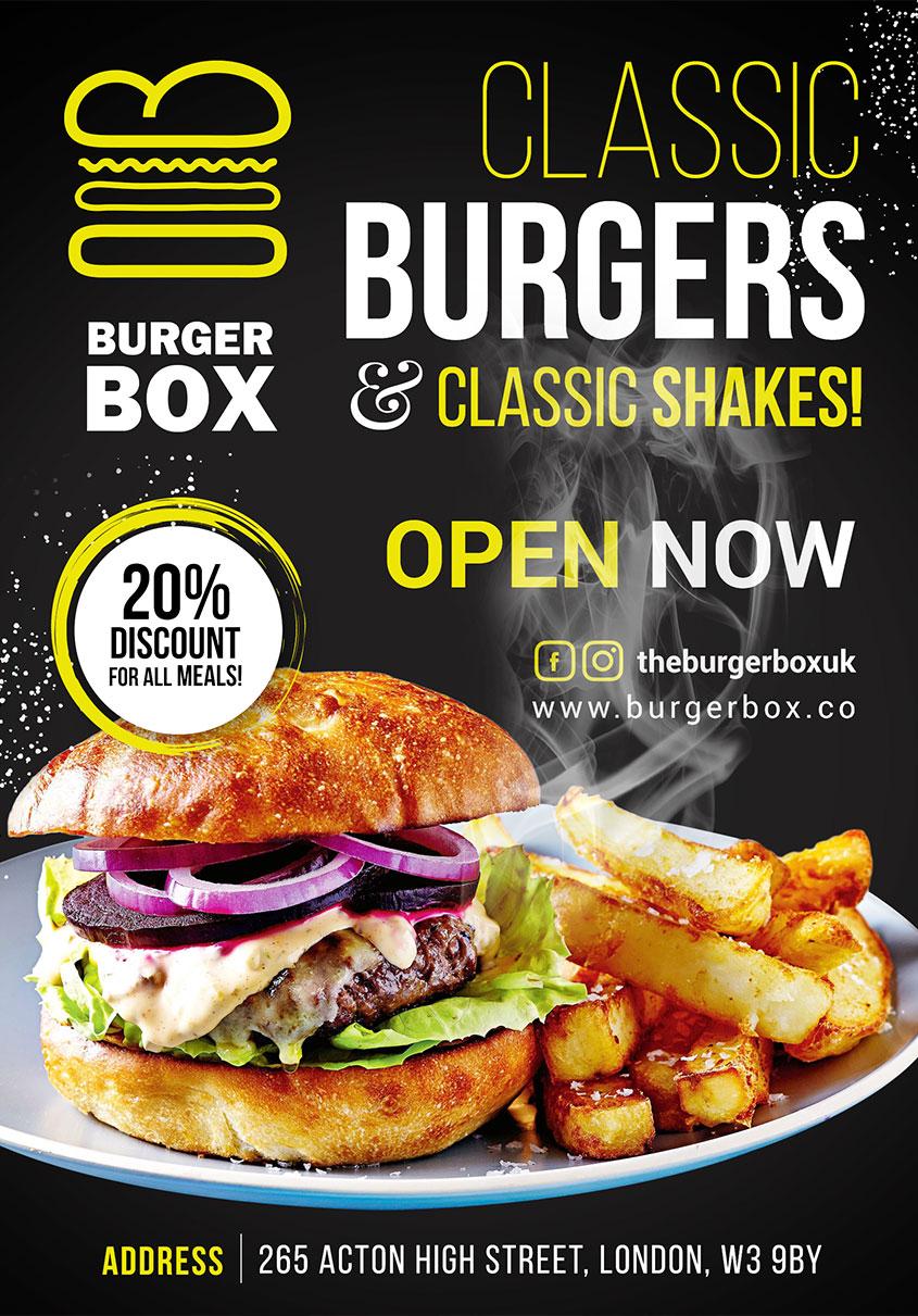 free classic burger flyer psd