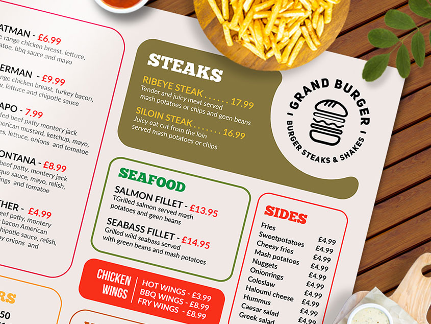 paper Resturant menu design