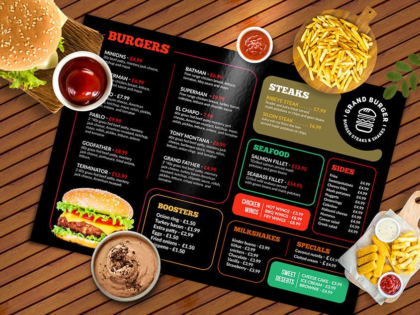 dark elegant Resturant menu design