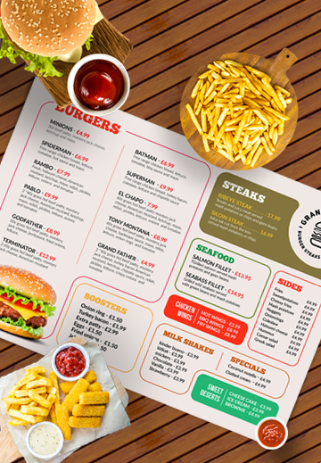 restaurant menu design psd