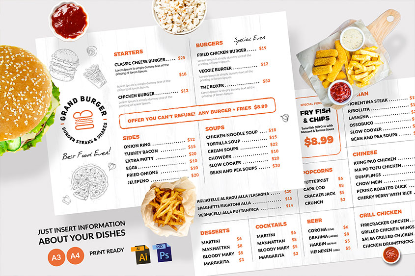 cafe Resturant menu design