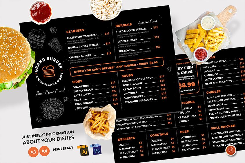 dark Resturant menu