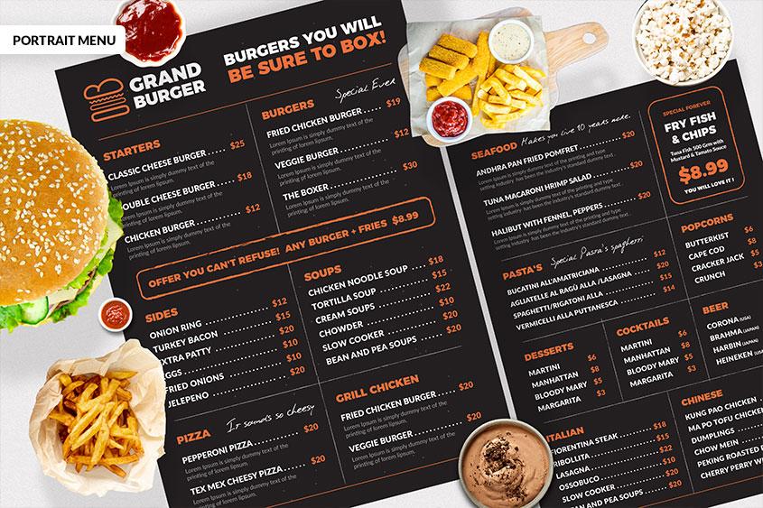 Resturant menu