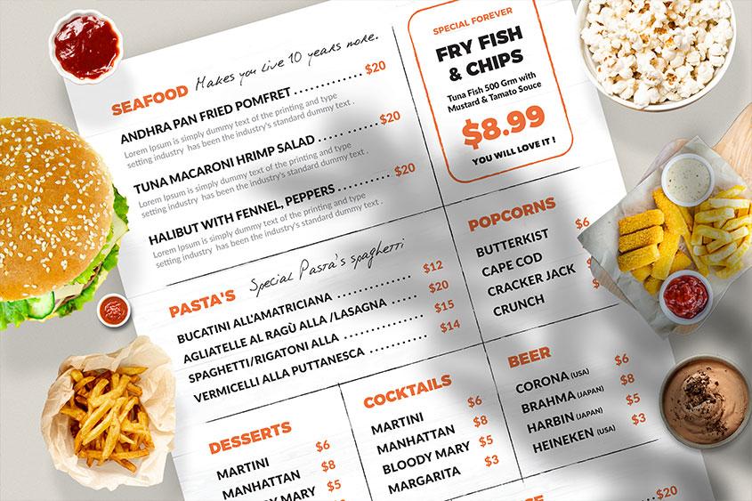Resturant menu template