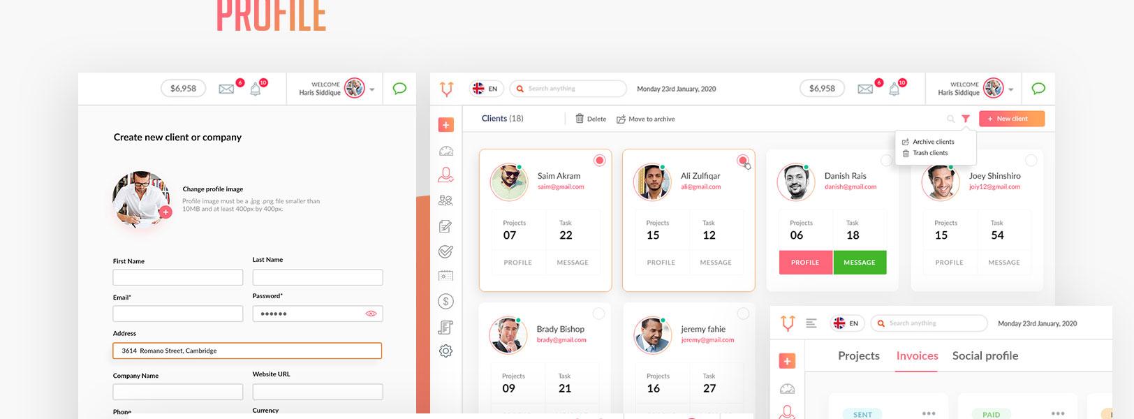 profile user interface