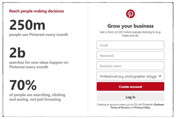 Create a Pinterest account for your business